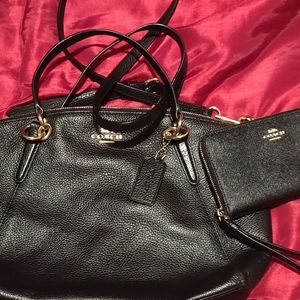 Coach 36625 pebble leather bag w/ matching wallet